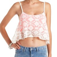 High-Low Aztec Lace Swing Crop Top by Charlotte Russe