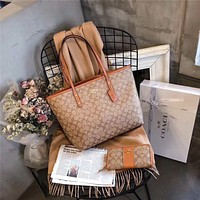 COACH Women Fashion New Pattern Print Leather Purse Wallet Handbag and shopping bag two pieces