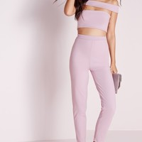 Missguided - Bandage Bardot Tapered Leg Jumpsuit Mauve