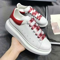 Alexander McQueen fashion casual men and women thick bottom gradient LACES white sneakers