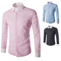 Color Contrast Collar Men's Long Sleeve Shirt