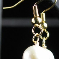 Pearl Earrings, Simple Handmade Dangle Drops Gold Plated Wire Wrapped