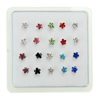 20pcs Flower Multi-Color Crystal Nose Studs Ring Women Jewelry Gift