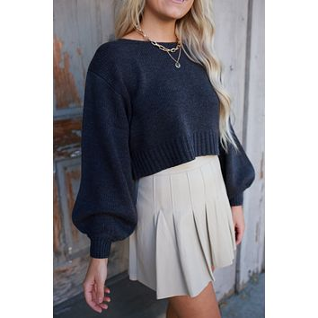 Good Idea Cropped Sweater - Charcoal