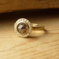 Brown Rose Cut Diamond and Pave Set Halo Ring