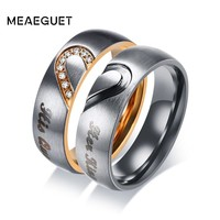 Meaeguet His Queen & Hers King Heart Wedding Rings for Women Men Stainless Steel Cubic Zirconia Couple Engagement Jewlery