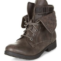 Grey Tartan Print Quilted Cuff Lace Up Ankle Boots