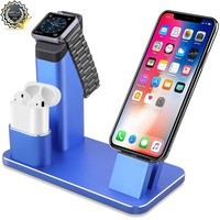 Apple Watch Stand, Eliubing Aluminium 5 in 1 Charging stand Dock Station for Apple watch/AirPods/ipod/ipad&iPhone X/8/8plus/7/7plus/SE/5/5s/SE/6/6plus/6s/6splus with Various Case-Royal blue