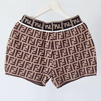 Fendi 2019 new women's double f letter jacquard casual wild knit shorts Coffee