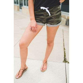 The Tia Cuffed Sport Shorts (Dark Camo)