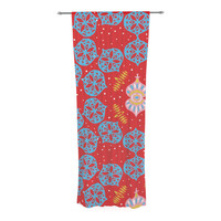 """Miranda Mol """"Frosted Red"""" Blue Decorative Sheer Curtain"""