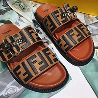 FENDI Women Men Casual Stylish Print Brown Sandal Slipper Shoes
