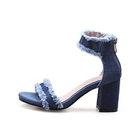 Blue Denim Sqaure Sandals
