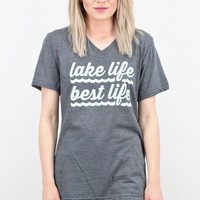 Lake Life, Best Life S/L V-neck Tee {Asphalt}