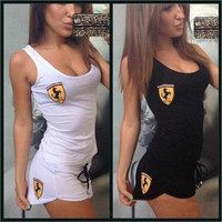 Fashion girl Ferrari embroidery vest short sports suit female 、(Two-Piece)