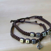 SALE Matching Couples Bracelets with Lock & Key - Set of 2 Leather Bracelets - Dark Brown Leather and Silver Beads