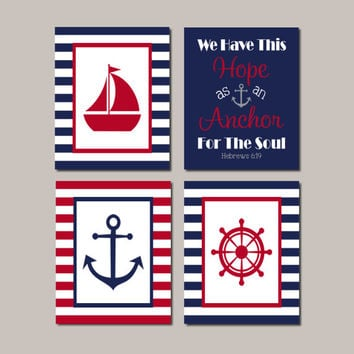 Nautical Wall Decor, Nautical Nursery Art, Beach Decor, Nautical Bathroom, Anchor Sailboat, Navy Red, Bible Verse, Set of 4 Prints Or Canvas