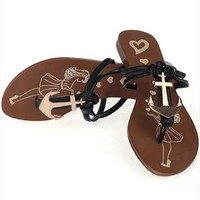 Falt T Shape Flip Flops with Anchor Black from topsales