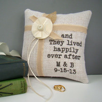 Personalized Burlap Ring Bearer Pillow, Rustic Wedding, Country, Ring Pillow, Ring Bearer, White, Personalized, Cottage, Garden, Neutral
