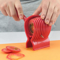 Kitchen Tools Potato Onion Cutter Fruit slicer Tomatoes Clip Fruit Vegetable Holder for lemon Red Color Food Clip Cooking Tools