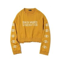 """""""BRAIN WASHED GENERATION"""" CROPPED SWEATER"""
