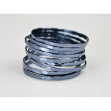 Super Thin Gunmetal Silver Stackable Rings