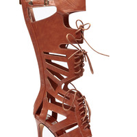 Tan Gladiator Goddess Lace Up Single Sole Heels
