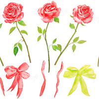 hand painted watercolour red roses with stem, tea rose digital clipart instant download scrapbook wedding card, greeting card, wall art