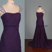 Floor length dark purple chiffon prom gowns hot,affordable bridesmaid dress with train,elegant women dresses for wedding party.