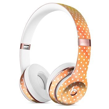 The Orange Watercolor Grunge Surface with Polka Dots Full-Body Skin Kit for the Beats by Dre Solo 3 Wireless Headphones