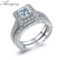 Anenjery 1 Pair Luxury 925 Sterling Silver Rings For Women Men Square Dazzling CZ Mosaic Zircon Wedding Rings Set S-R254