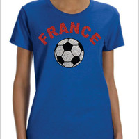 FRANCE Flowy Racer Back Tank Top World Cup 2014 Soccer Football Coupe du Monde