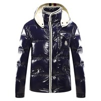 Moncler Men's Down Jacket Navy Black - Best Deal Online