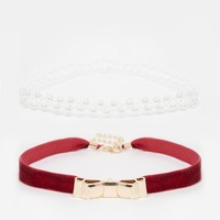 River Island   River Island Velvet Bow And Pearl Choker Multipack Necklace at ASOS