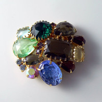 Vintage Juliana Fruit Salad Rhinestone And Art Glass Brooch