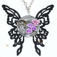 Butterfly Steampunk Necklace - Guilloche Etched Elgin Silver Antique Pocket Watch Movement - Purple Rose Black Butterfly Steampunk Necklace