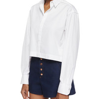 Audrey Long-Sleeve Crop Shirt, Size: