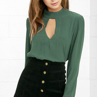 Dreamy Darling Forest Green Long Sleeve Top