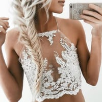 FASHION LACE BACKLESS TOP BLOUSE