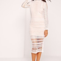 Missguided - High Neck Structured Lace Midi Dress White