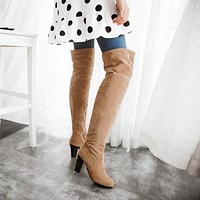 Round Toe Over the Knee High Boots