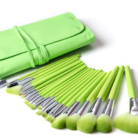 24pcs Professional Cosmetic Green Nylon Hair  Makeup Brushes Set