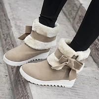 Bowtie Fur Snow Boots Platform High Heels Winter Shoes Woman 3320 3320