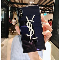 YSL Yves Saint Laurent Popular Luxury Simple Letter Pattern Square Glass Cellphone Case All-Inclusive For iphone 6 6s 6plus 6s-plus 7 7plus iphone 8 iphone X Black I12709-1