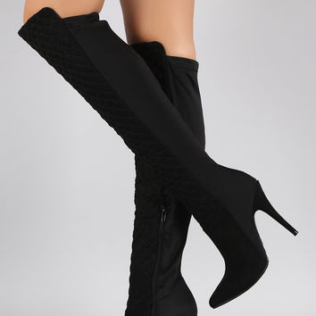 Anne Michelle Suede Quilted Lycra Pointy Toe Stiletto Boots