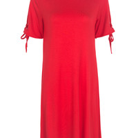 Red Short Sleeve Swing T-shirt Dress