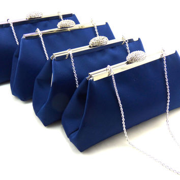 Set of Four Navy Blue and Silver Bridesmaid Gift Clutches 5% Off