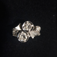 Vintage Diamond Ring in Art Nouveau Style. 14K White Gold. 4 Diamonds with 0.65 TCW. Unique Engagement Ring. April Birthstone. Gold Ring