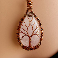 TREE Of LIFE Handmade Wire Wrapped Rose Quartz Teardrop  Pendant Necklace Copper  Teardrop  Rose Quartz Pendant.