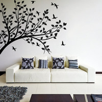 Wall Decal Tree silhouette Branch with Leafs & Birds / Nature Art Decor Sticker / Forest DIY Mural  + Free Random Decal Gift!